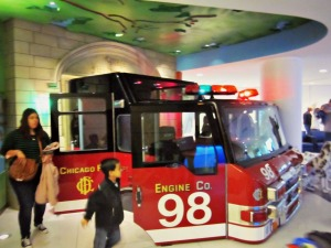 Kids can play on a former Chicago Fire truck at Lurie Children's Hospital